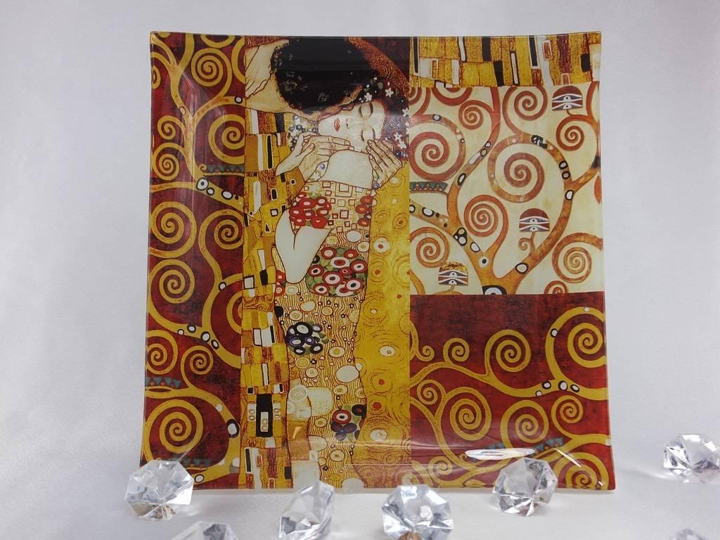 CARMANI - elegante Porzellanserien in Limited Edition. Gustav Klimt - glass plate -The Kiss mix - 25 x 25 cm
