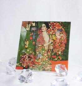 CARMANI - 1990 Gustav Klimt - glass plate - 13 x 13 - The dancer