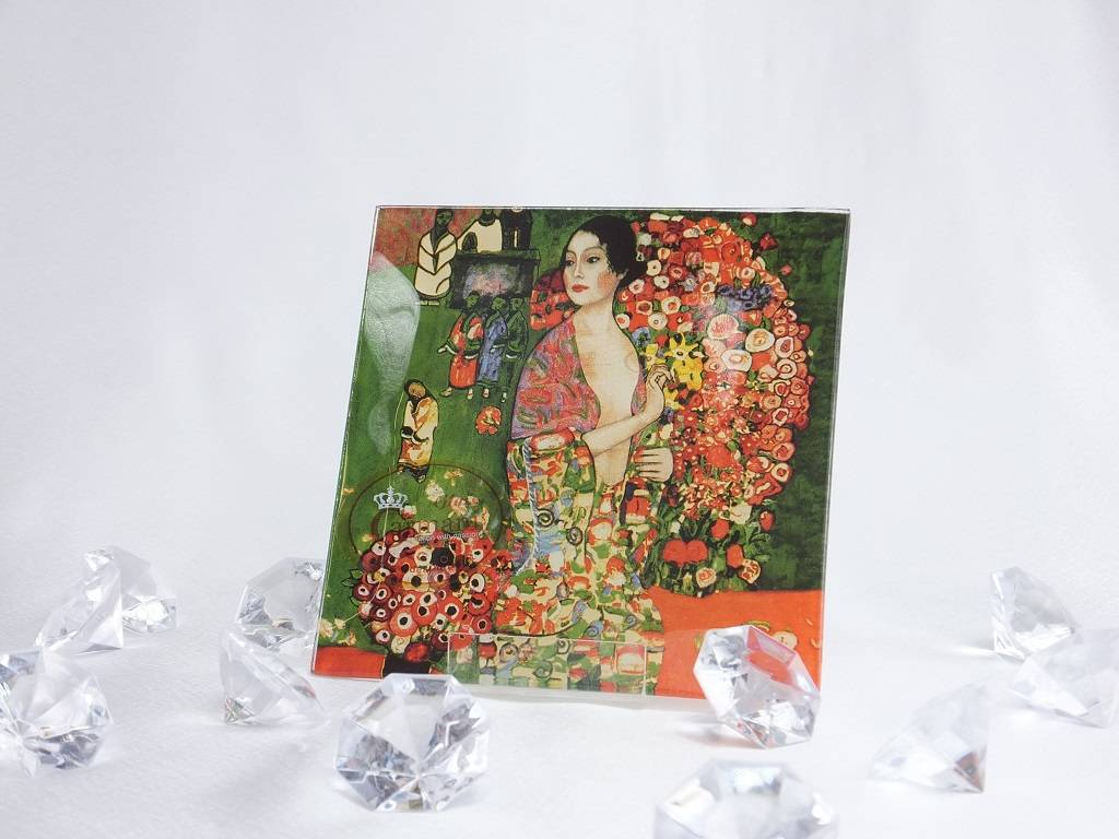 CARMANI - 1990 Gustav Klimt - Glasteller 13 x 13 cm - Die Tänzerin