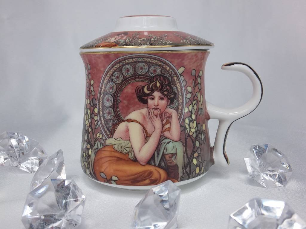 DELUXE by MJS Alfons Mucha - Precious Stones bordeaux - Teetasse Set