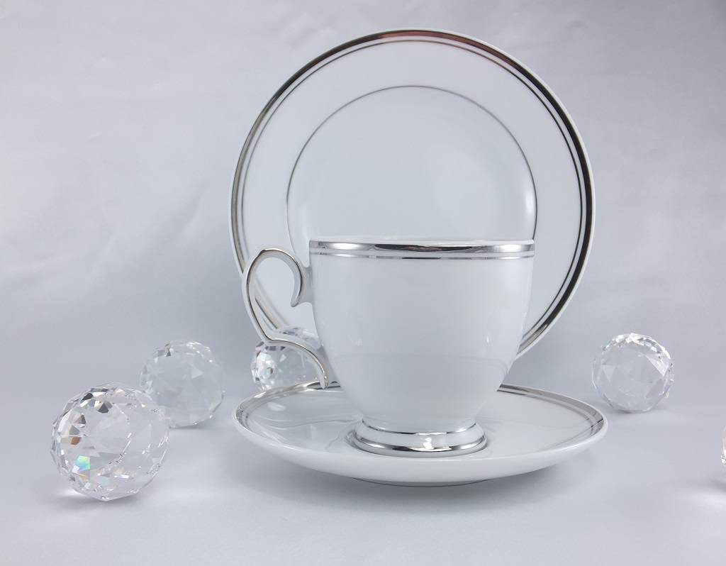 ALTOM MariaPaula - Platin - Kaffeetasse & Untertasse mit Platinrand