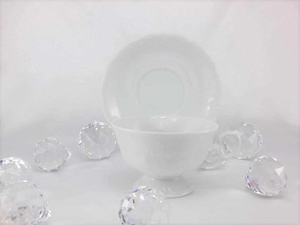 CRISTOFF -1831 Marie - Claire - weiß - Porzellantasse & Untertassein 2 Größen