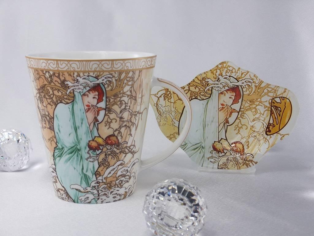 CARMANI - elegante Porzellanserien in Limited Edition. Alfons Mucha - The Fours Seasons - Winter - coffee mug set