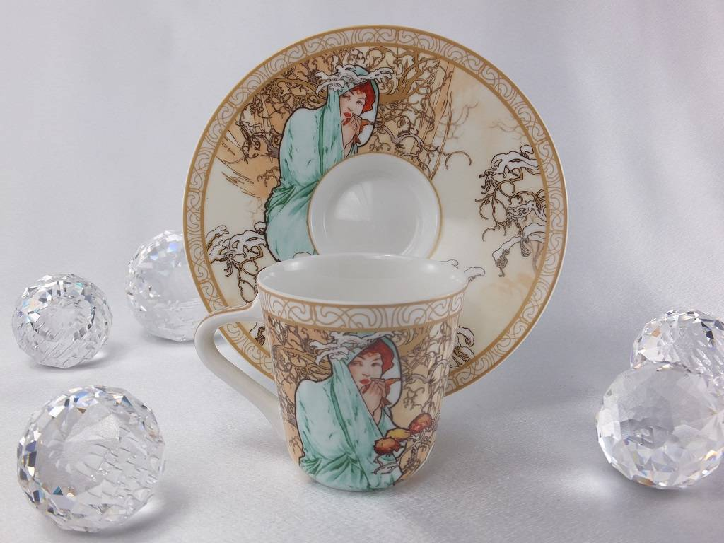 CARMANI - 1990 Alfons Mucha - The Four Seasons - Espresso cups set winter/ summer