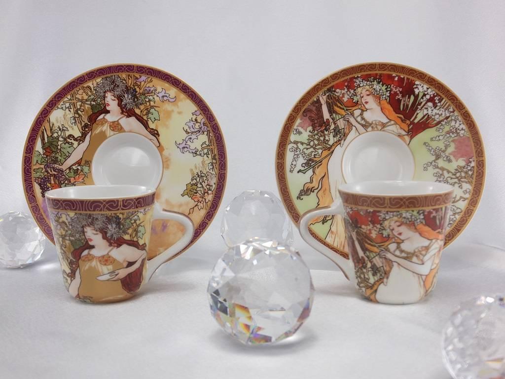 CARMANI - elegante Porzellanserien in Limited Edition. Alfons Mucha - The Four Seasons - Espresso cups set  spring  / autumn
