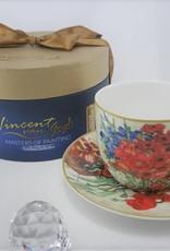 CARMANI - elegante Porzellanserien in Limited Edition. Vincent van Gogh - Margeriten und Mohnblumen - Kaffeetasse  mit Untertasse &  Geschenkbox