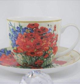 CARMANI - elegante Porzellanserien in Limited Edition. Van Gogh - Margeriten und Mohnblumen - Kaffeetasse & Untertasse