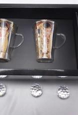 CARMANI - elegante Porzellanserien in Limited Edition. Gustav Klimt - The Kiss - Latte Macchiato glass cups