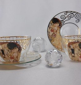 CARMANI - 1990 Gustav Klimt -2 coffee cups - glass