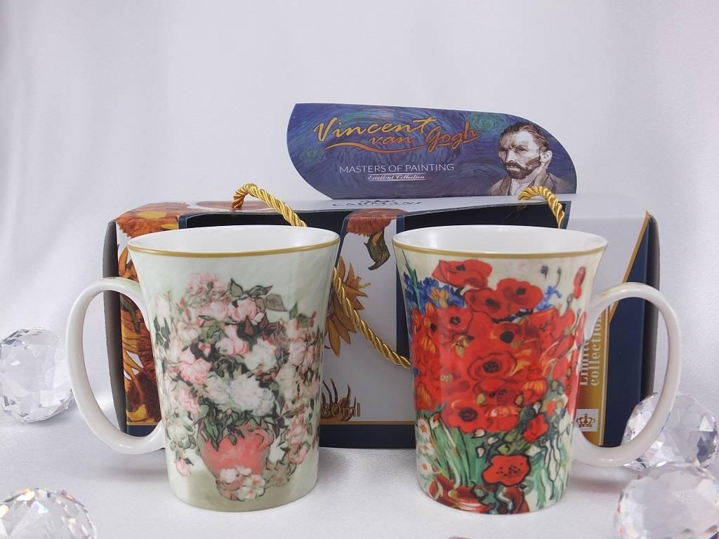 CARMANI - elegante Porzellanserien in Limited Edition. Vincent van Gogh - Vase mit Rosen & Margeriten und Mohnblumen  - Kaffeetassen Set  in  Geschenkbox