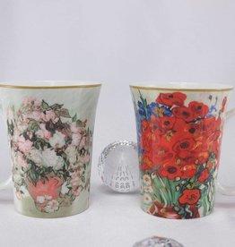 CARMANI - 1990 Van Gogh - Daisies and Poppies  -  Coffee mugs set