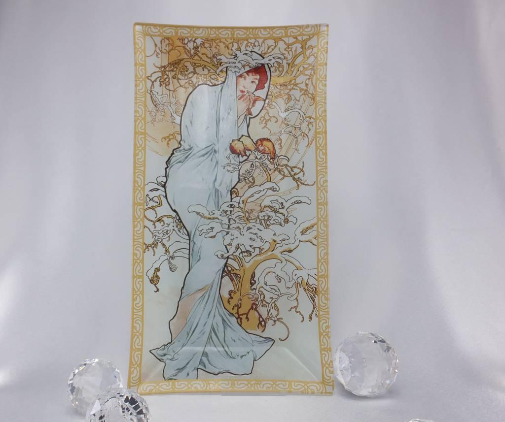 CARMANI - elegante Porzellanserien in Limited Edition. Alffons Mucha -  The Four Seasons - Glass Plate - Winter
