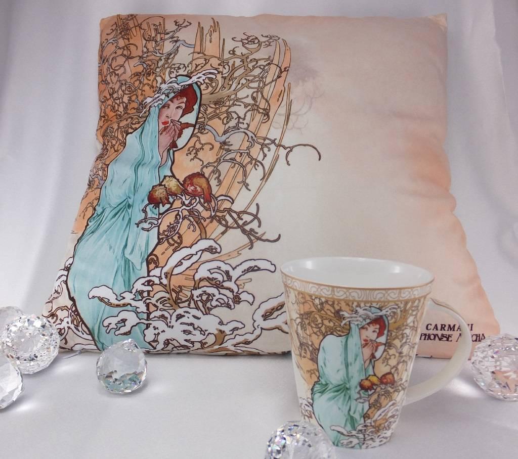 CARMANI - 1990 Alfons Mucha - Decorative Cushion - The Four Seasons - Winter
