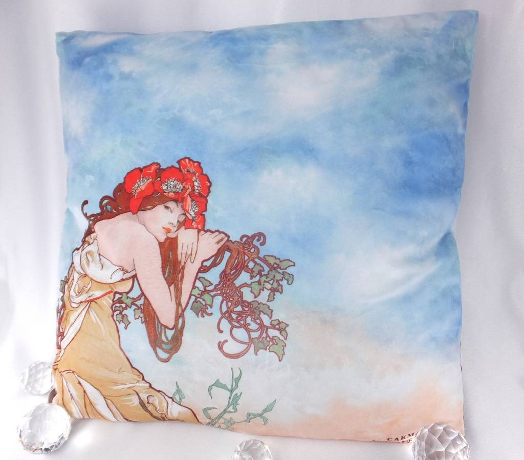 CARMANI - 1990 Alfons Mucha -decorations pillow - The Four Seasons - Summer