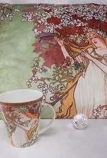 CARMANI - elegante Porzellanserien in Limited Edition. Alfons Mucha - Decorative Cushion - The Four Seasons - Spring
