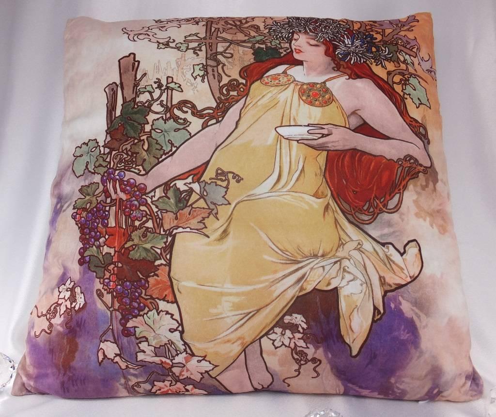 CARMANI - 1990 Alfons Mucha - Dekorationskissen - The Four Seasons - Herbst