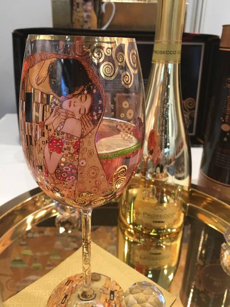 CARMANI - elegante Porzellanserien in Limited Edition. Gustav Klimt - Der Kuss - Weinglas in Geschenktube