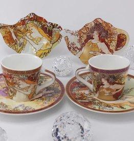 CARMANI - elegante Porzellanserien in Limited Edition. Alfons Mucha -The Four Seasons - Espresso cups -  set S/A