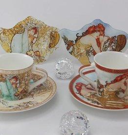 CARMANI Alfons Mucha - Espressotassen  Set - The Four Seasons-  S/W