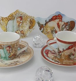 CARMANI - elegante Porzellanserien in Limited Edition. Alfons Mucha - Espressotassen  Set - The Four Seasons-  S/W