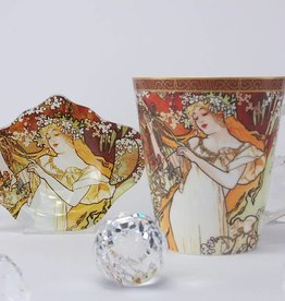 CARMANI - elegante Porzellanserien in Limited Edition. Alfons Mucha   - Kaffeetasse - The Four Seasons  - Frühling