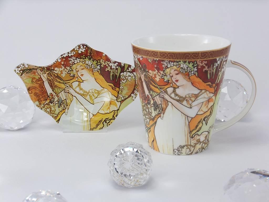CARMANI - elegante Porzellanserien in Limited Edition. Alfons Mucha - The Fours Seasons - Spring- coffee mug set