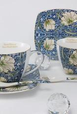 Queen Isabell The Morris - Cappuccino Tassen in Blau -dekorative Twin Tassen aus Porzellan