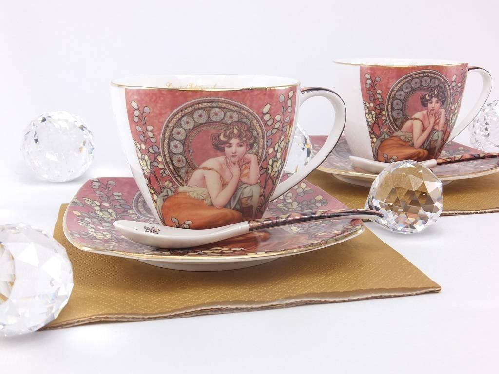 Queen Isabell Alfons Mucha - Cappuccino Tassen   - Precious Stones bordeaux