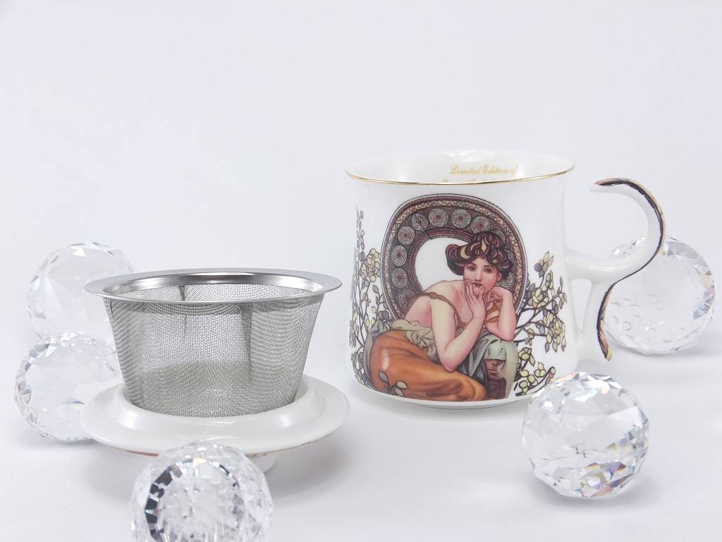 DELUXE by MJS Alfons Mucha - Precious Stones in White - Teacup 3-Piece Set