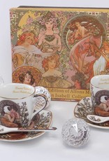 Queen Isabell Alfons  Mucha - Espresso Set - Precious Stones white