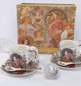 Queen Isabell Alfons Mucha   - Espressotassen - Precious Stones- weiß