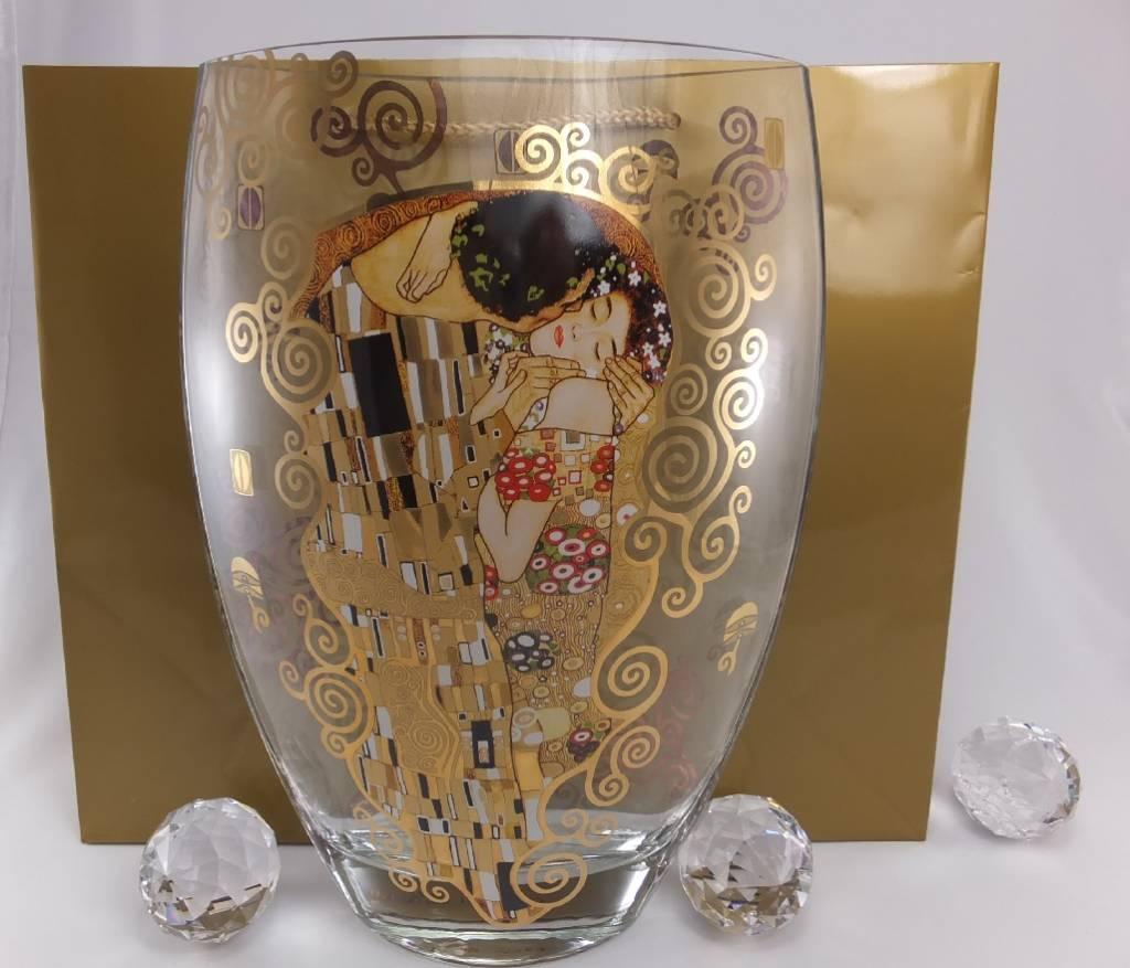 CARMANI - 1990 Gustav Klimt - Der Kuss - Dekorationsvase / Glasvase  II