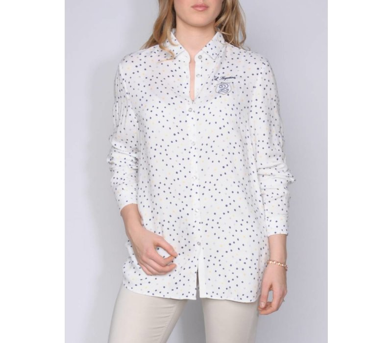 blouse MANDELLA white-royalblue