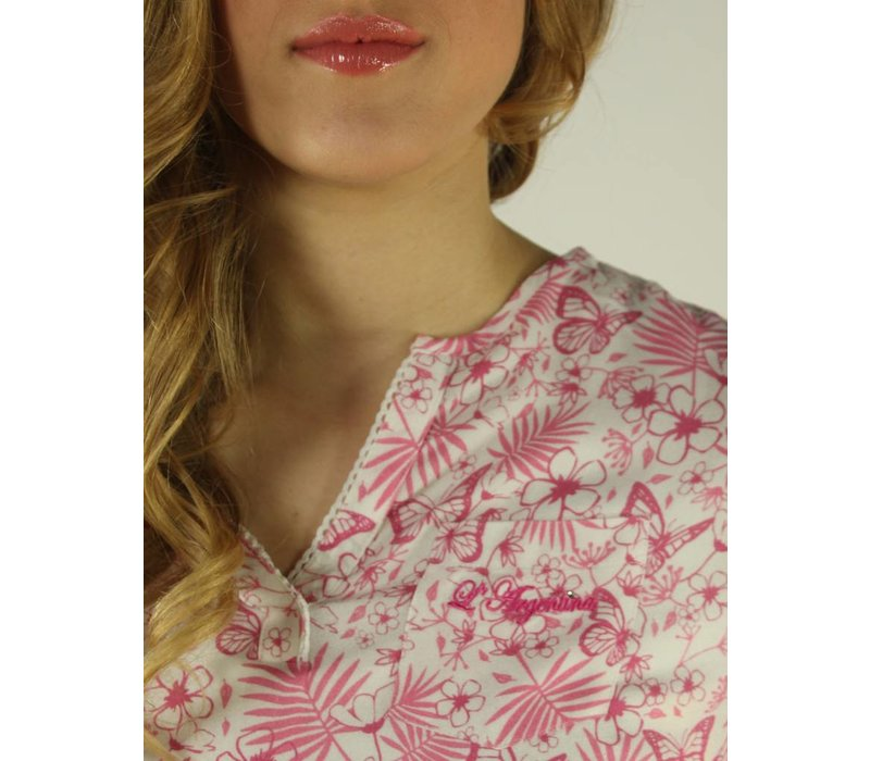blouse MARICELA white-brightpink