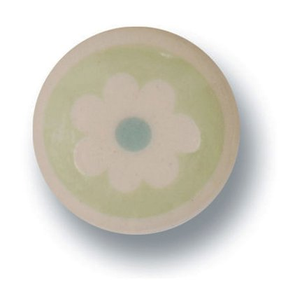 Porseleinen knopje flower green