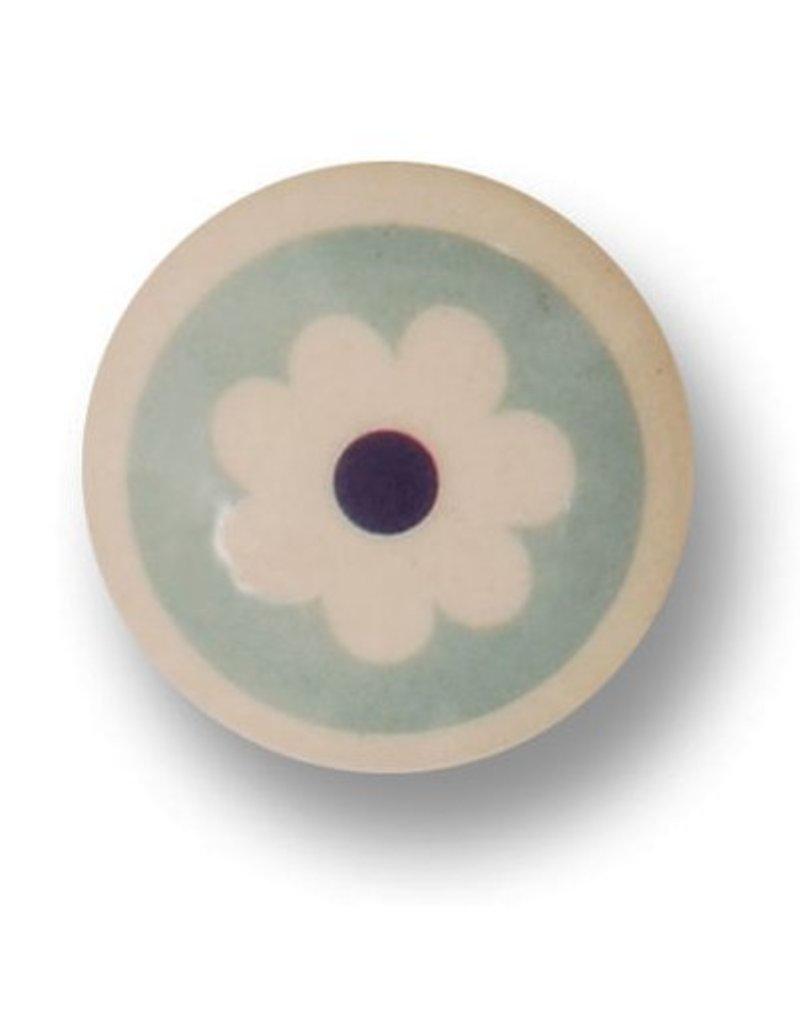 Porseleinen knopje flower blue
