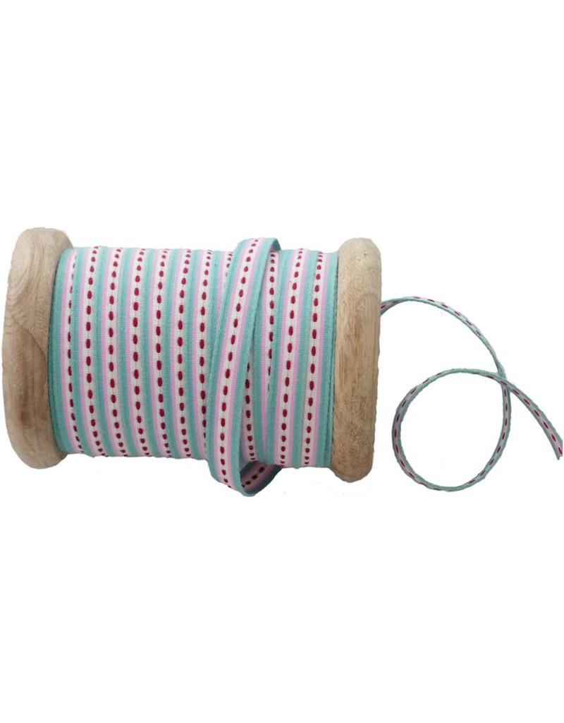 25 meter band stripe turkis op houten klos