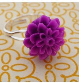 Zilte atelier Ring met paarse chrysant