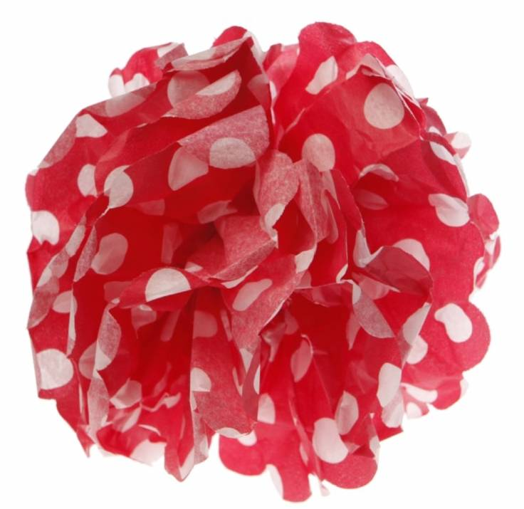Paper pom pom dot red