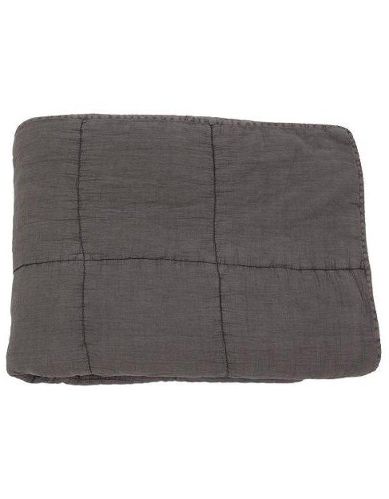Quilted cotton plaid dark grey