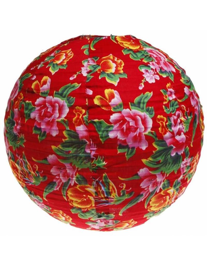Bollamp van stof red floral