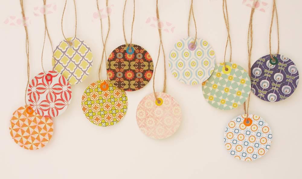 Set 10 cadeau tags retro