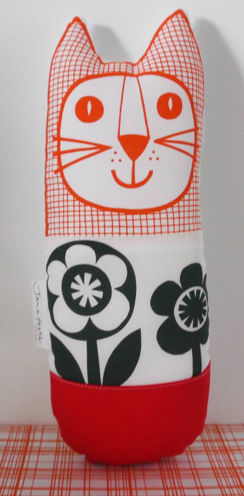 Cat black & white flower