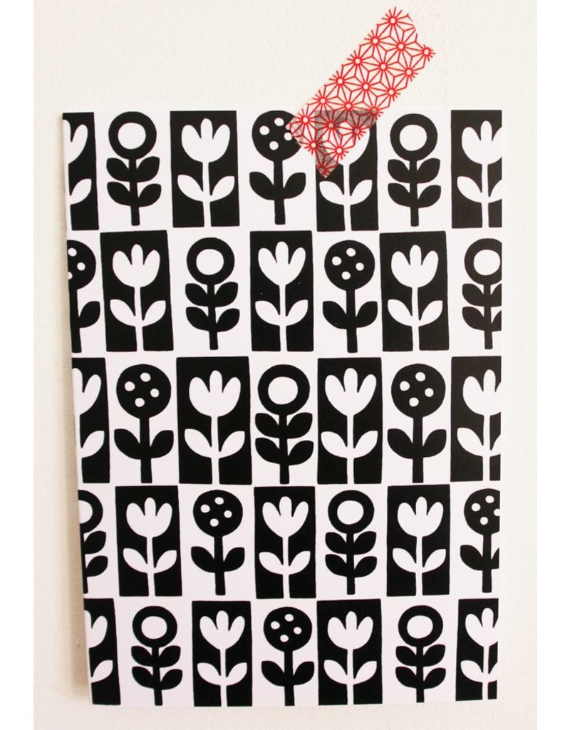 Kaart black & white flowers