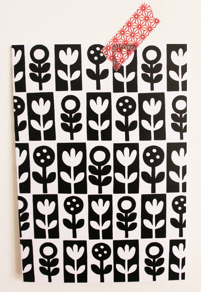 Kaart Black White Flowers Ziltenl