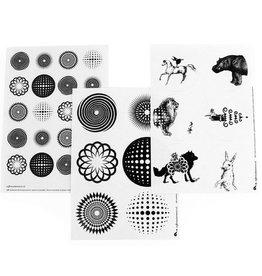 Stickervellen grafisch zwart-wit