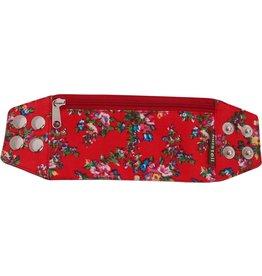Huisteil creaties Zipper bracelet red flowery M/L