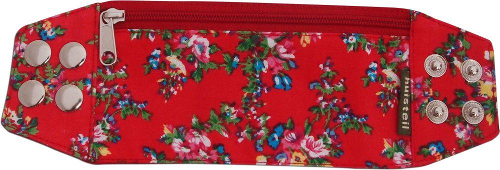 Zipper bracelet red flowery M/L