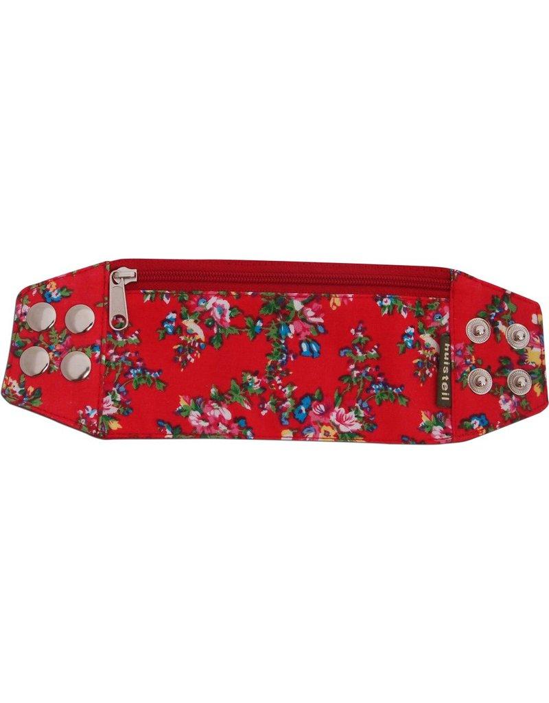 Zipper bracelet red flowery S/M