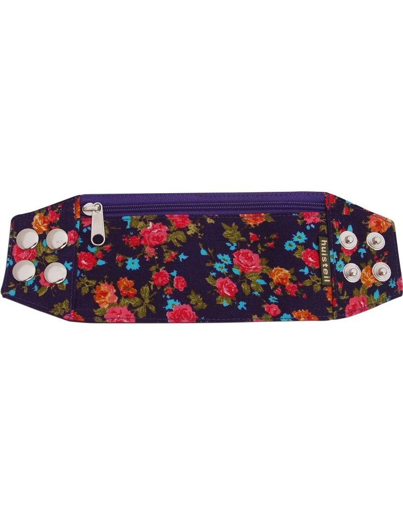 Zipper bracelet purple flowery S/M